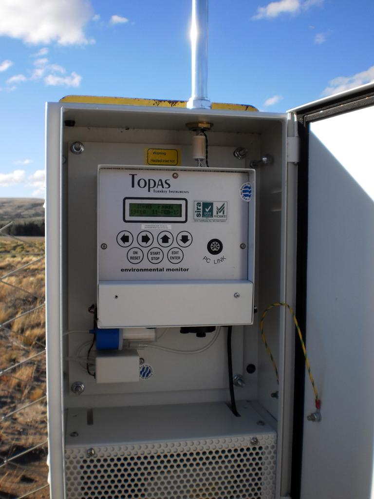 El nuevo medidor de partículas volcánicas instalado en Aeropuerto Chapelco